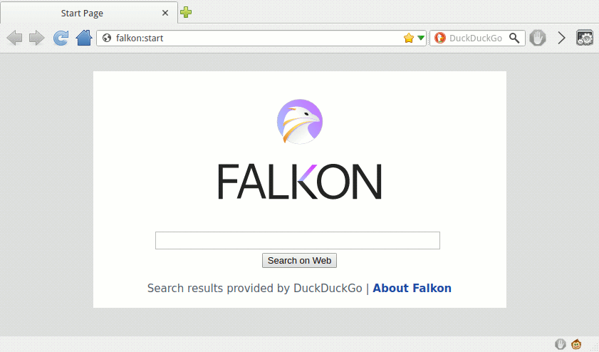 Screenshot of Falkon with GreaseMonkey status bar