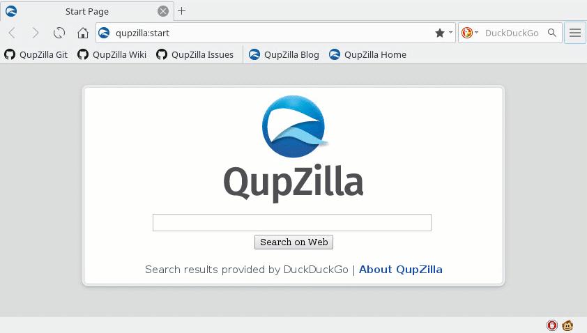 Screenshot of QupZilla with GreaseMonkey status bar