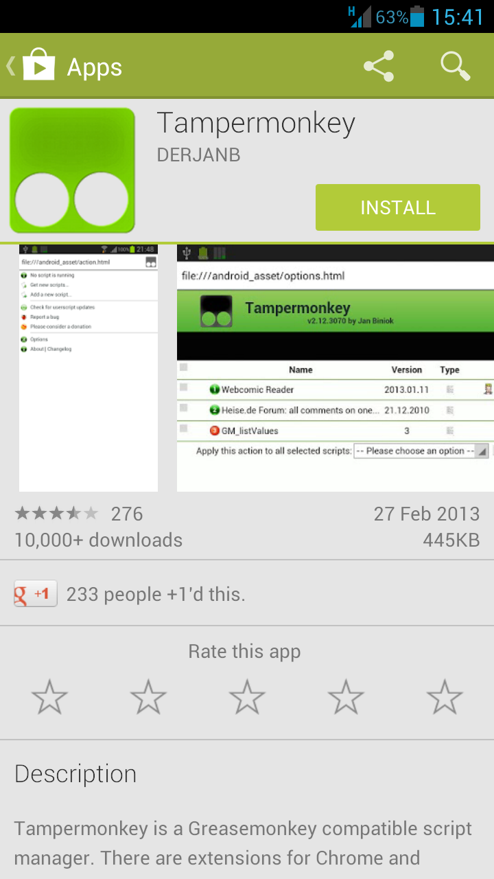 Screenshot of Tampermonkey page in Google Play Store