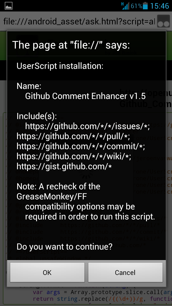 Screenshot of Tampermonkey script installation