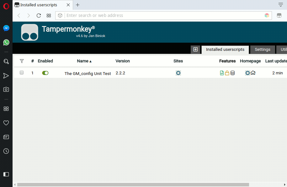 Screenshot of Tampermonkey dashboard