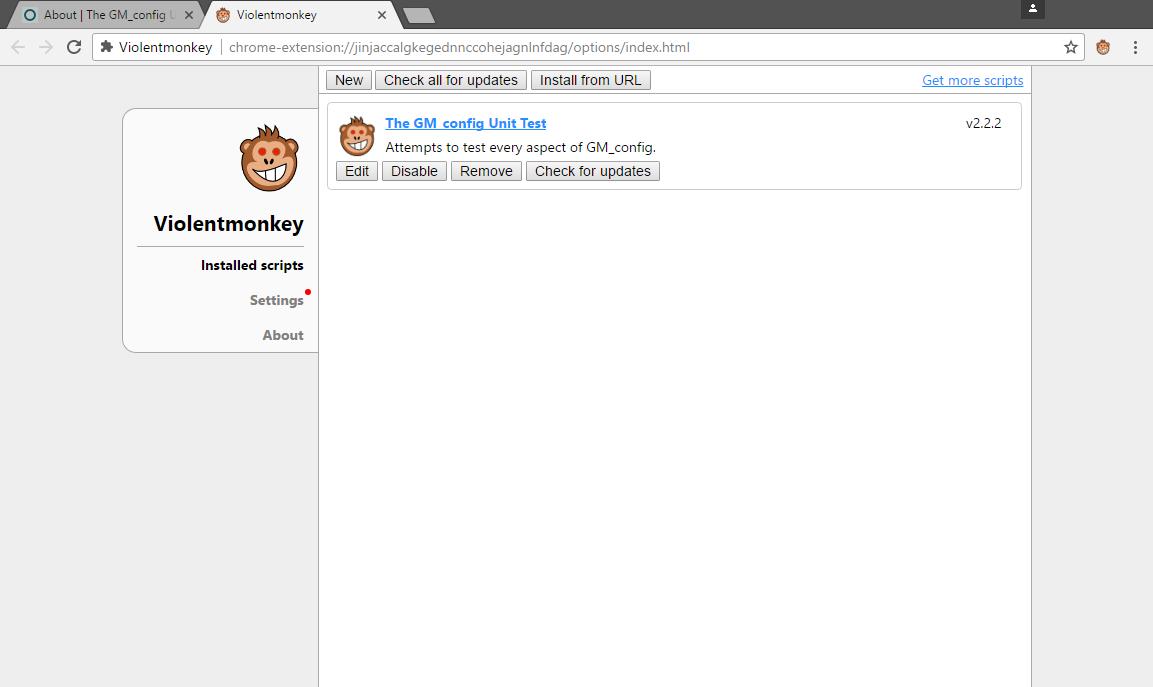 Screenshot of Violentmonkey Dashboard