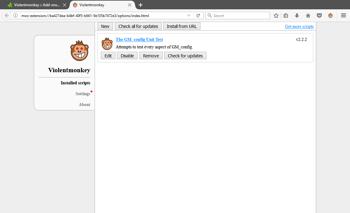 Screenshot of Violentmonkey Dashboard