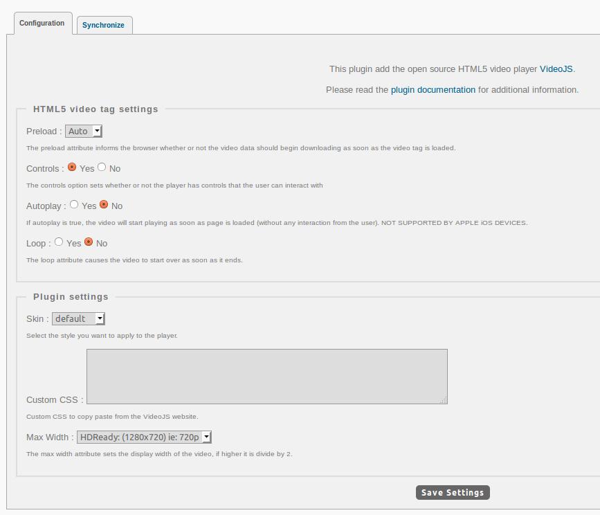 Sample VideoJS Config