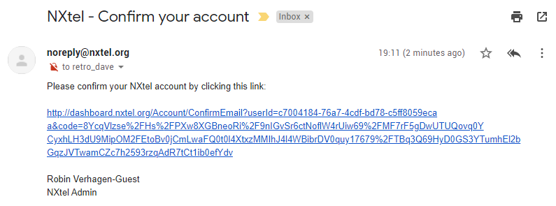 NXtel Account Confirmation Email
