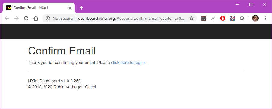 NXtel Account Confirmed