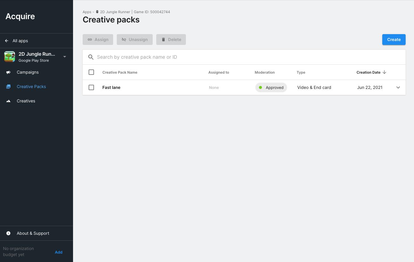 Creative Packs page
