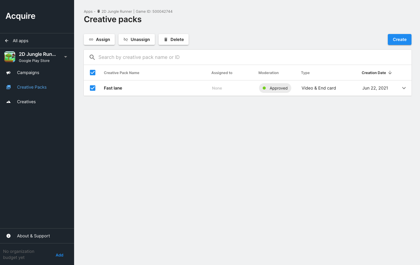 Creatives Assign creative pack page