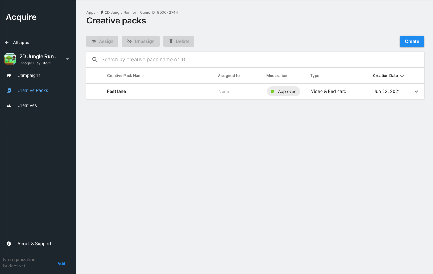 Creatives Creative pack page