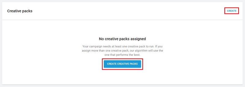 Setting up a new creative pack.