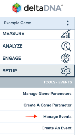 deltaDNA Manage Events screen