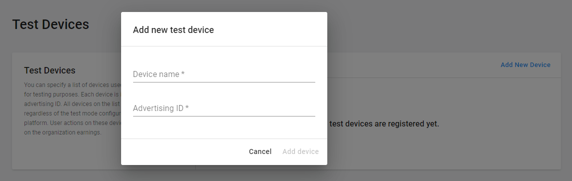 Registering a test device