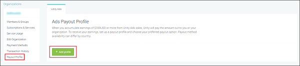 Adding a payout profile on the Unity ID dashboard.