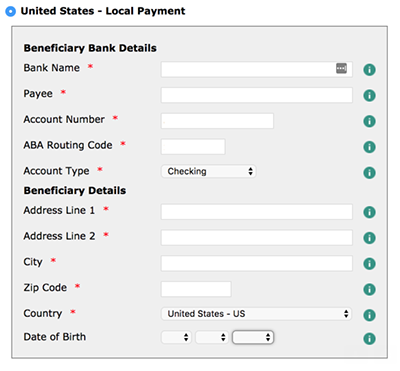 Example banking information form for international transfers.