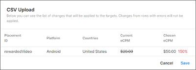 Uploading an eCPM targets CSV template.