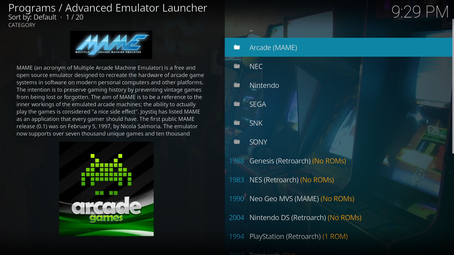 Beta - Advanced Emulator Launcher - Multi-emulator frontend for Kodi