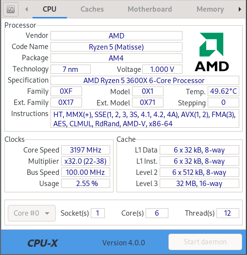 CPU-X interface