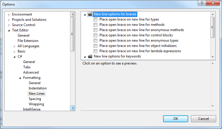 Visual Studio formatting screenshot