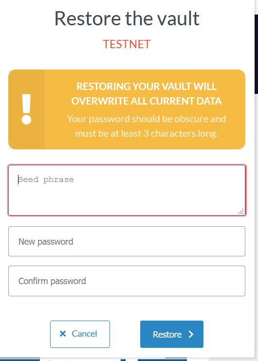 Restore the vault
