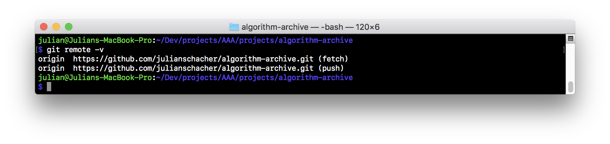 algorithm-archive local git remote without upstream