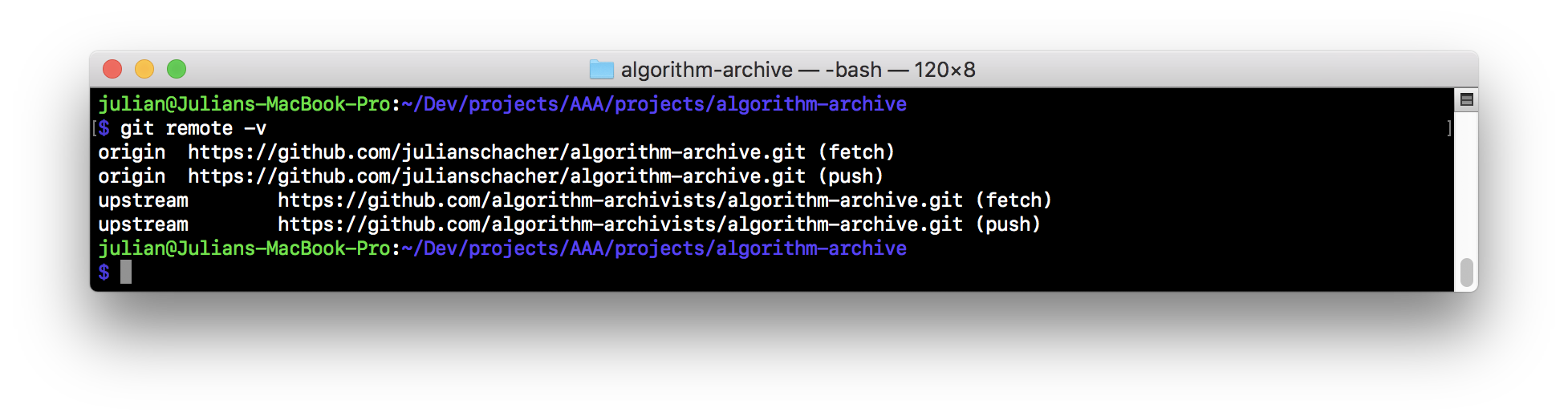 algorithm-archive local git remote with upstream