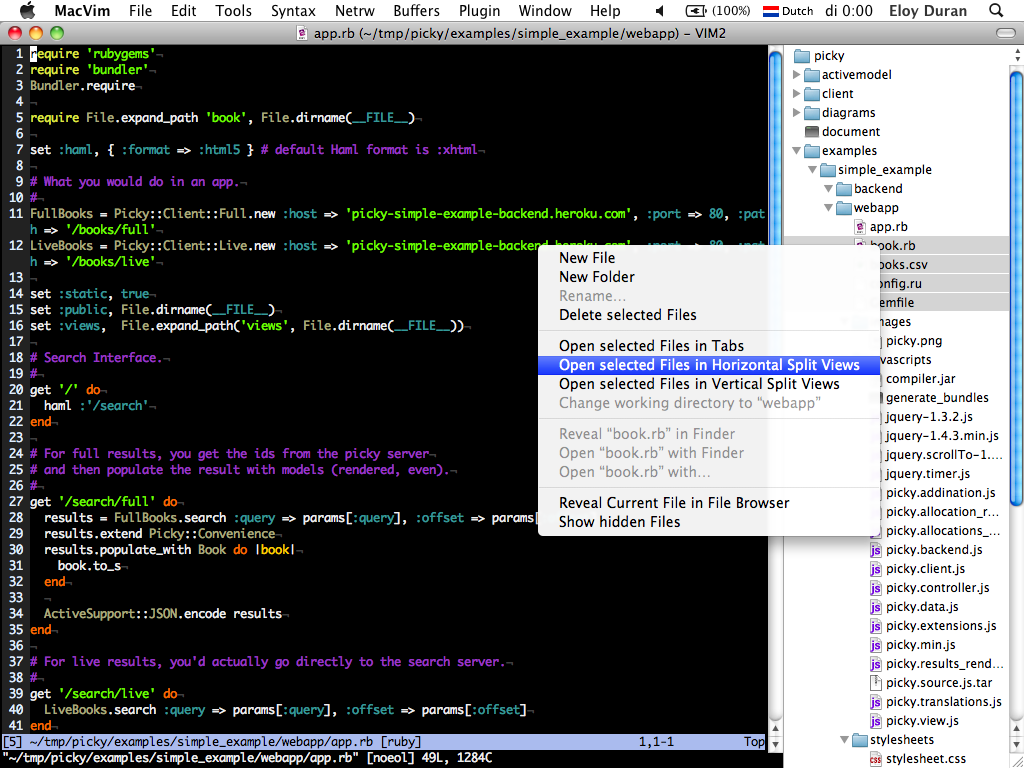 macvim with sidebar