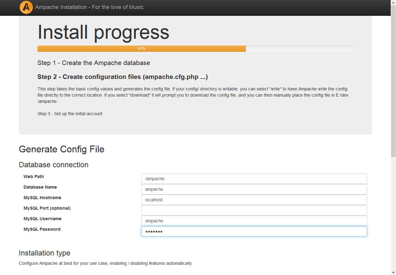 Installation screenshot