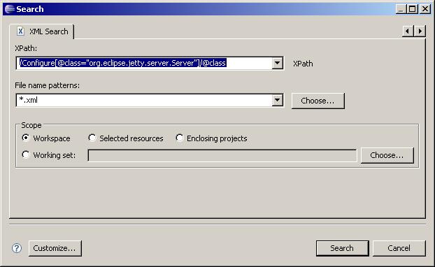 XML Search dialog