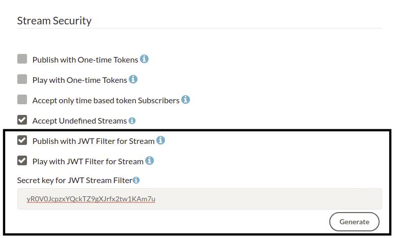 Ant Media Server JWT Stream Security Filter
