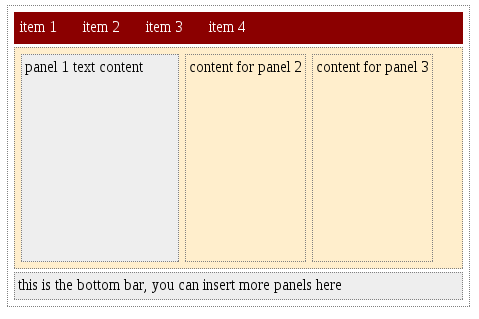 3 panel layout with top and bottom bar