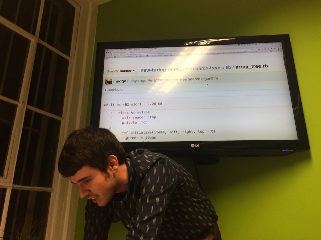 Paul showing a Ruby implementation of an array-based tree