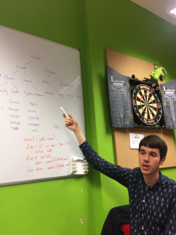 Paul explaining a recursive search algorithm