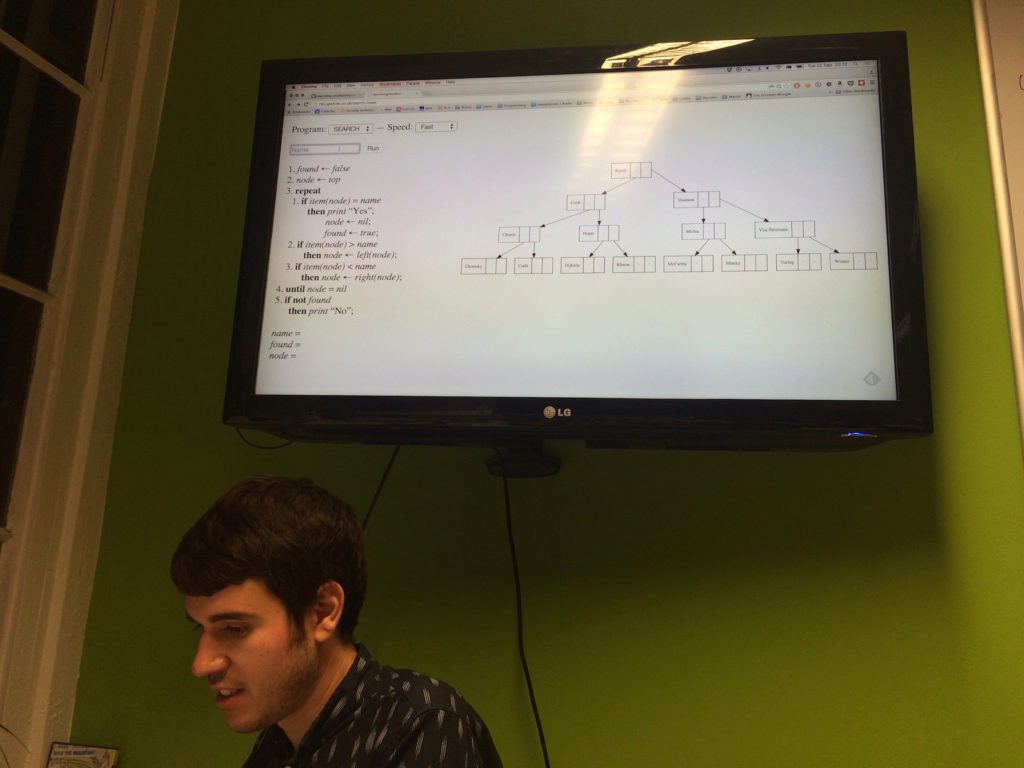 Paul showing Jamie's visual implementation of searching