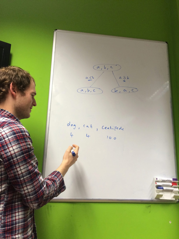 Chris explaining stable sorting