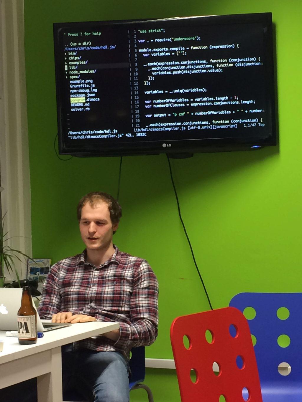 Chris demonstrating his self-enumerating pangram solver