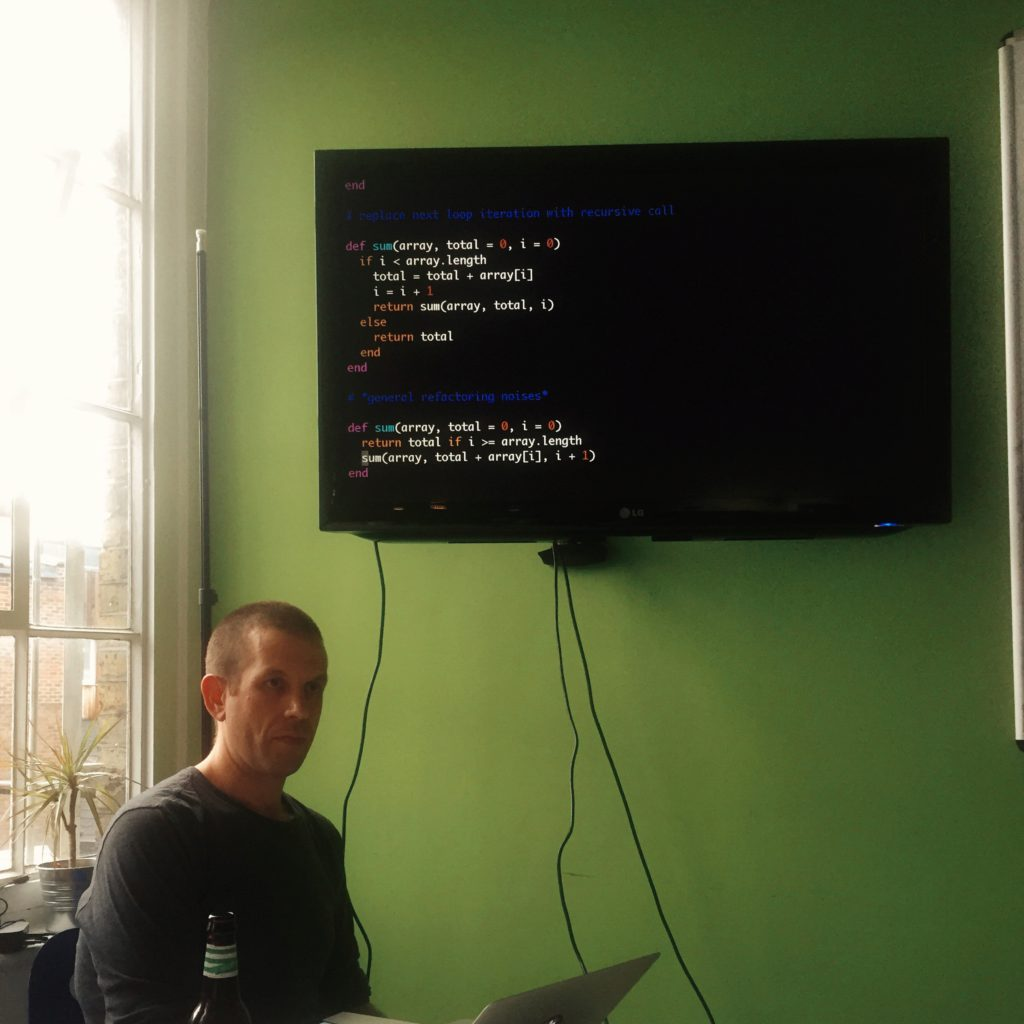 Tom showing how to convert an iterative solution into recursion