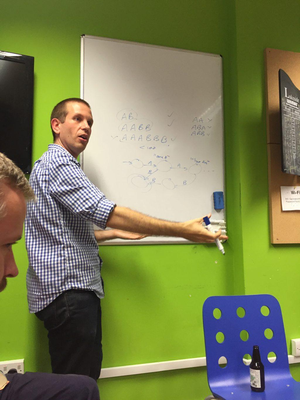 Tom explaining deterministic finite automata