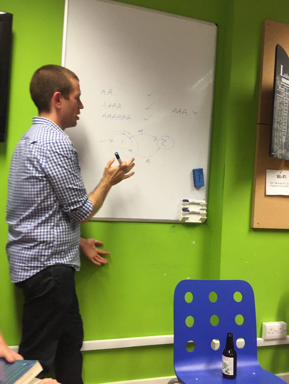 Tom explaining finite state machines