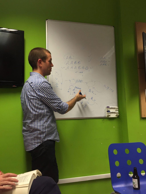Tom explaining pushdown automata