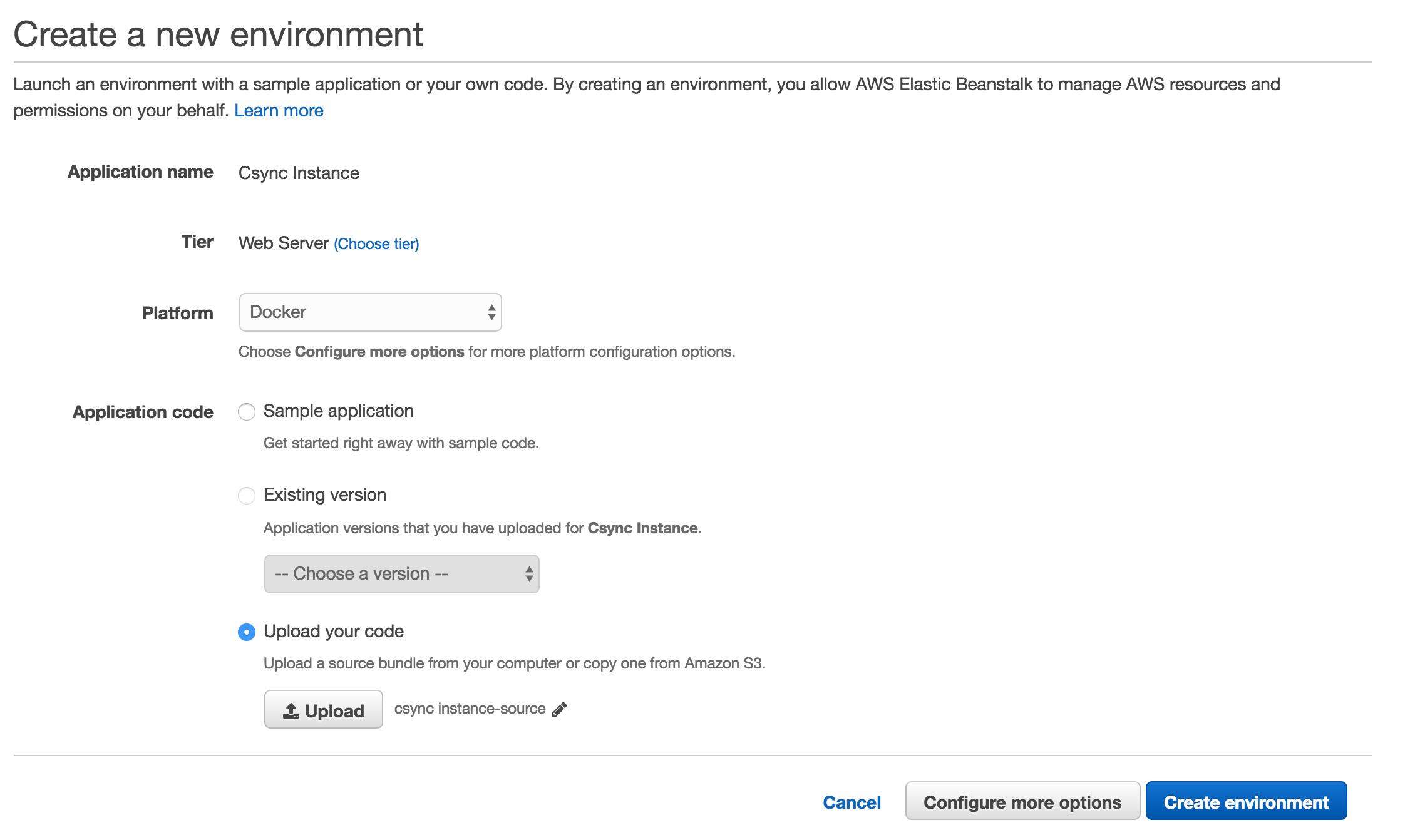 Create a CSync Instance on Amazon Web Services · csync/csync-server