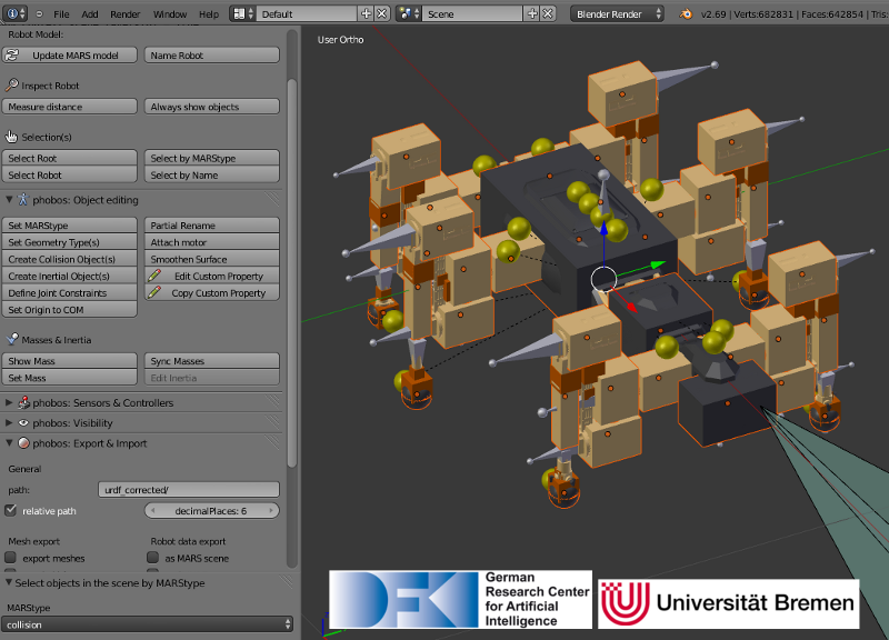 Model of the SpaceClimber robot in Blender, next to the Phobos toolbar displayed on the left.