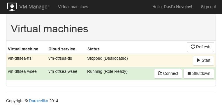 Simple Azure Virtual Machines Manager screenshot