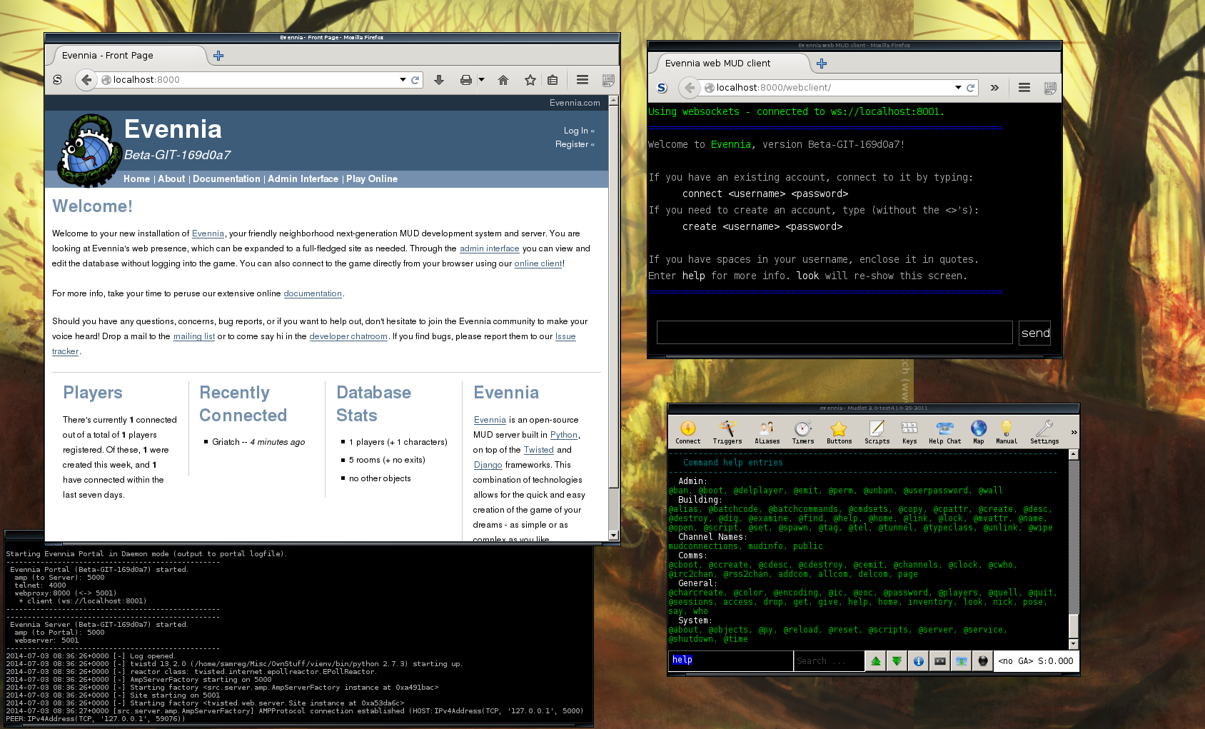 Running Evennia server, with example of webpage and games running in telnet client and webclient.