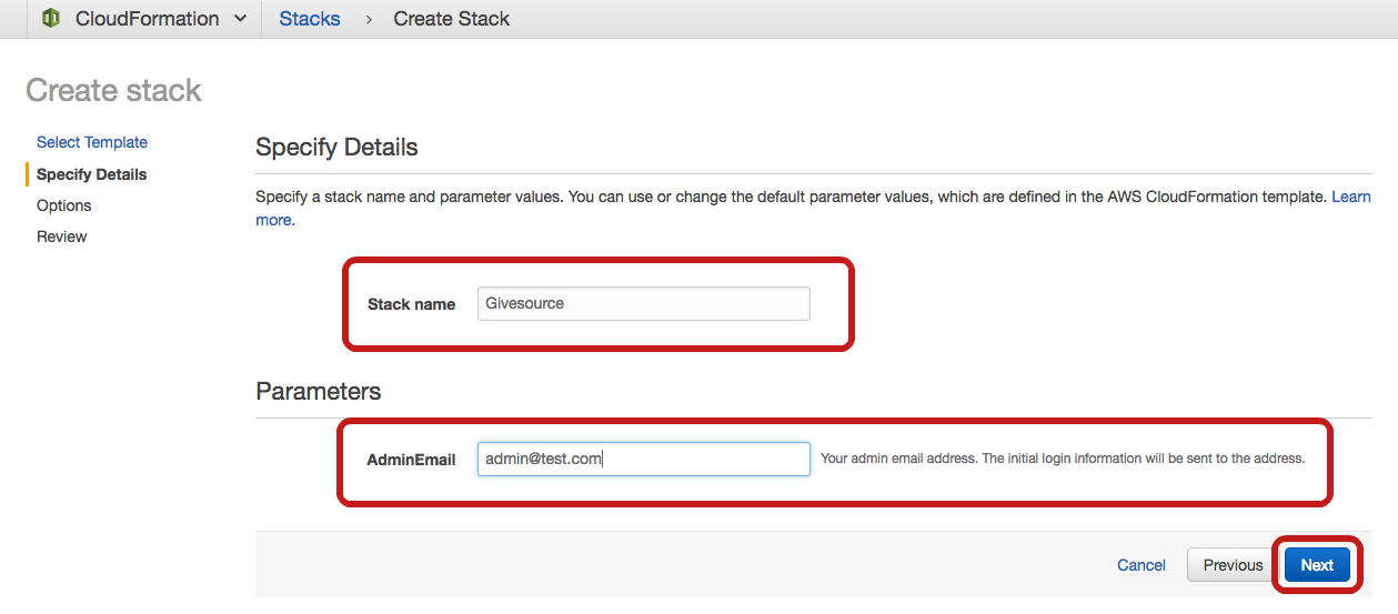 Givesource Stack Setup Step 2