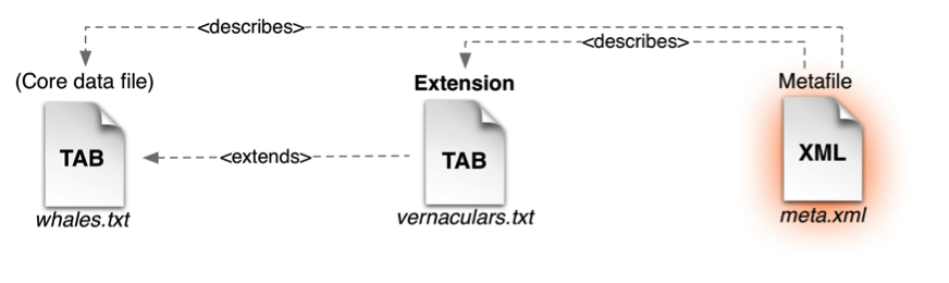 The metafile describes the file names and fields in the core and extension files