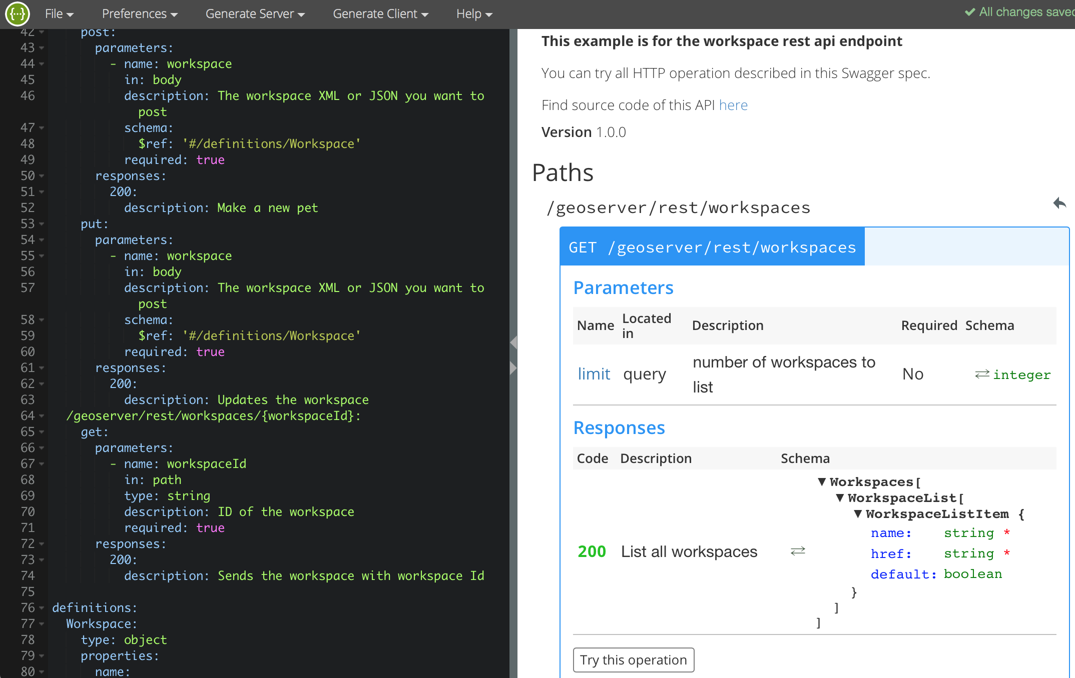 swagger editor example for workspace