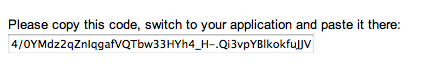 """Screenshot of """"Please copy this code, switch to your application and paste it there"""", followed by an alphanumeric code"""