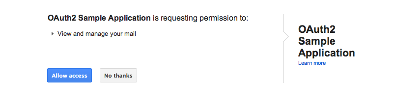 """Screenshot of """"OAuth2 Sample Application is requesting permission to view and manage your mail"""""""
