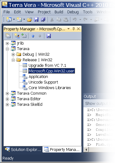MSVC++ 2010 Property Manager