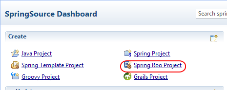 Open Roo project from SpringSource Dashboard
